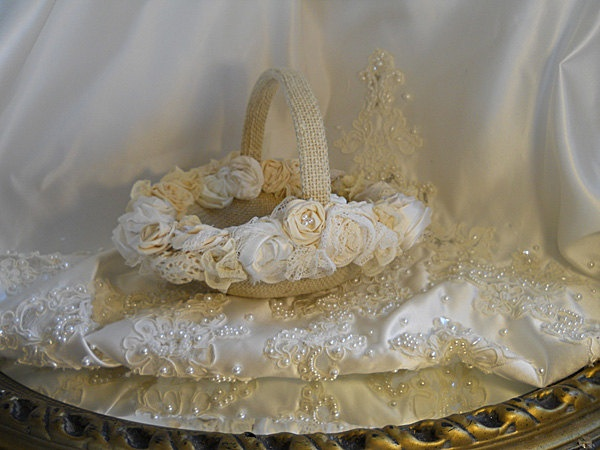 Burlap Flower Girl Basket handmade of bulap and embellished with handmade vintage flowers and lace $29.95