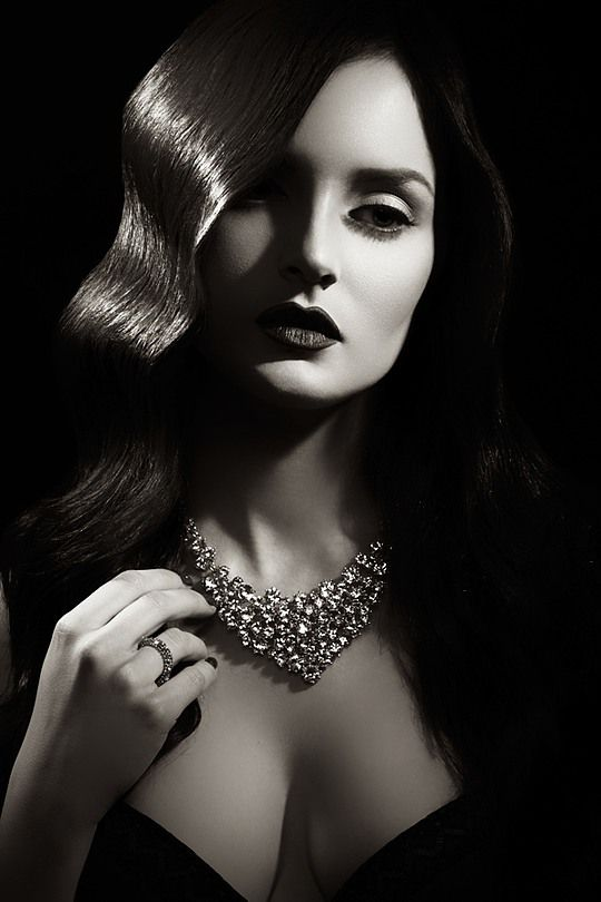 Beauty Photography by Geoffrey Jones | Portrait - Black and White - Seductive - Vintage - Glam - Jewels - Jewelry - Pose - Posing inspiration