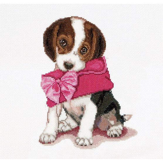 Thea Gouverneur counted-cross-stitch Kit Puppy Love On Aida
