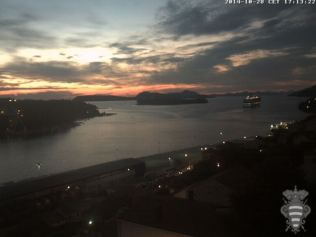 Port of Dubrovnik - Dubrovnik, Croatia sunset with Queen Elizabeth departing 28Oct2014