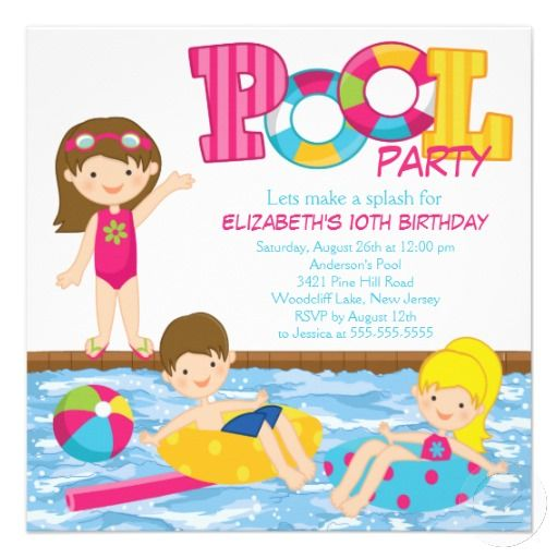 20 best pool party invitation templates images on pinterest brunette girl birthday pool party invitation filmwisefo