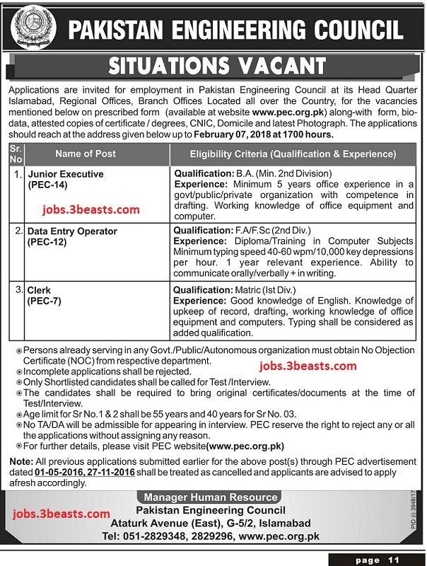 Pakistan Engineering Council Situation Vacant 24-01-208