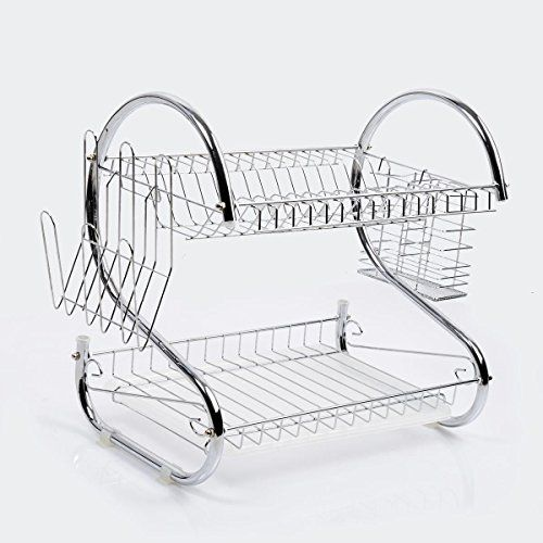 Giantex 2 Tiers Kitchen Dish Cup Drying Rack Drainer Dryer Tray Cutlery Holder Organizer Giantex