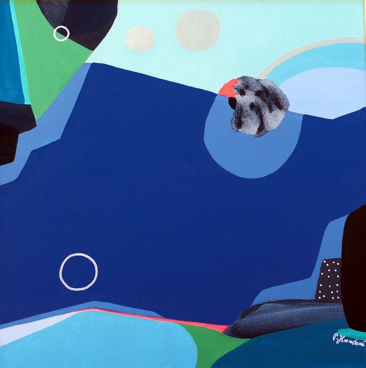 """""""Over the horizont """" by Pavla Hroudová, 40x40cm, oil on canvas"""