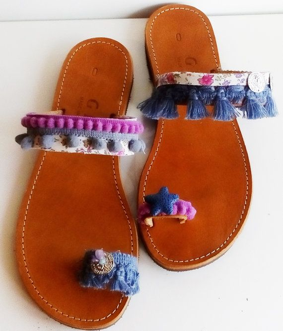 Decorated sandals, Handmade shoes, Greek leather sandals, Ancient greek shoes, Women s shoes, Casual sandals, Pom Pom, Flower sandals