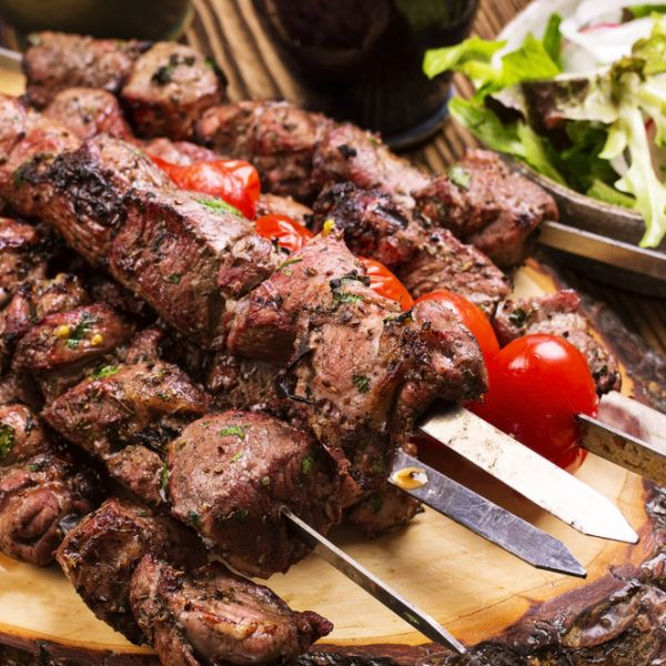 Marinated Greek Lamb Souvlaki with Pita and Tzatziki