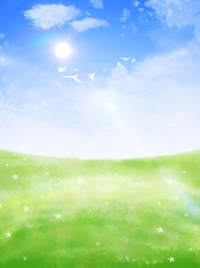 Mao Desenhada Ceu Azul Nuvens Brancas Prado Paisagem Fundo Dos