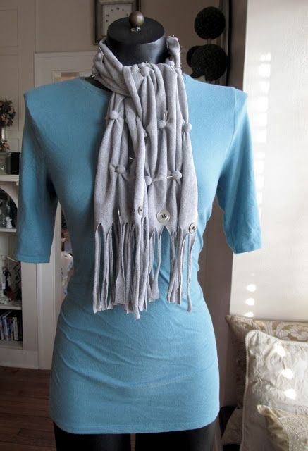 brief tutorial for a t-shirt scarf with pompoms (cotton balls?) tied to gather it...really nice
