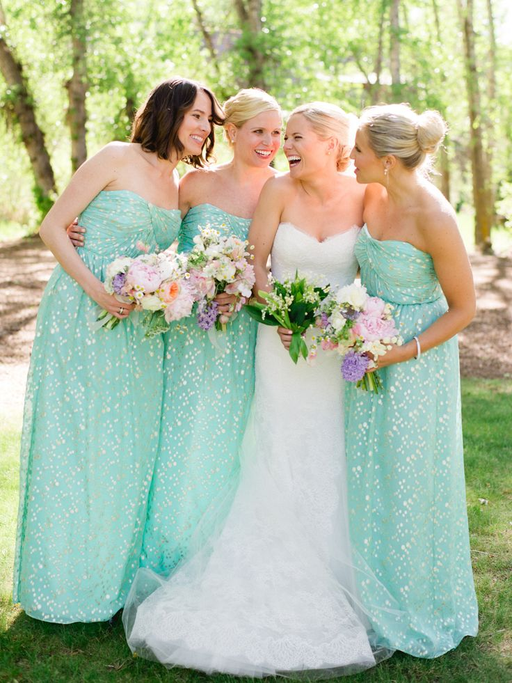 Mint/Seafoam Bridesmaids Dresses (Shoshanna Jennifer Maxi) | photography by http://kateholstein.com/