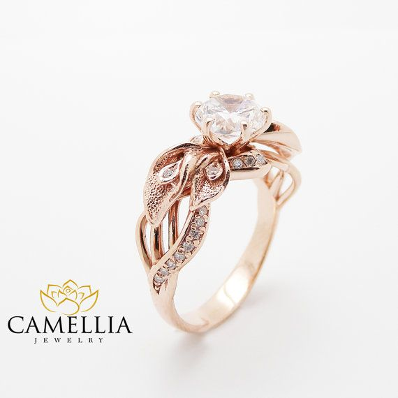 18K Rose Gold Diamant Verlobungsring Calla Lily von CamelliaJewelry
