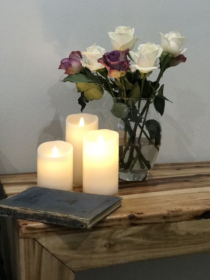 Set of 3 LED flameless, flickering wax candles.