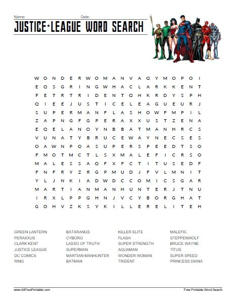 Justice League Word Search Word Search Justice league