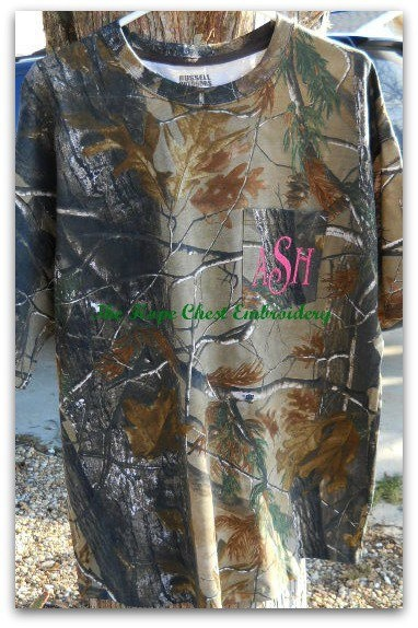 Real Tree Camouflage Monogram Pocket TShirt by HopeChestEmbroidery, $25.00