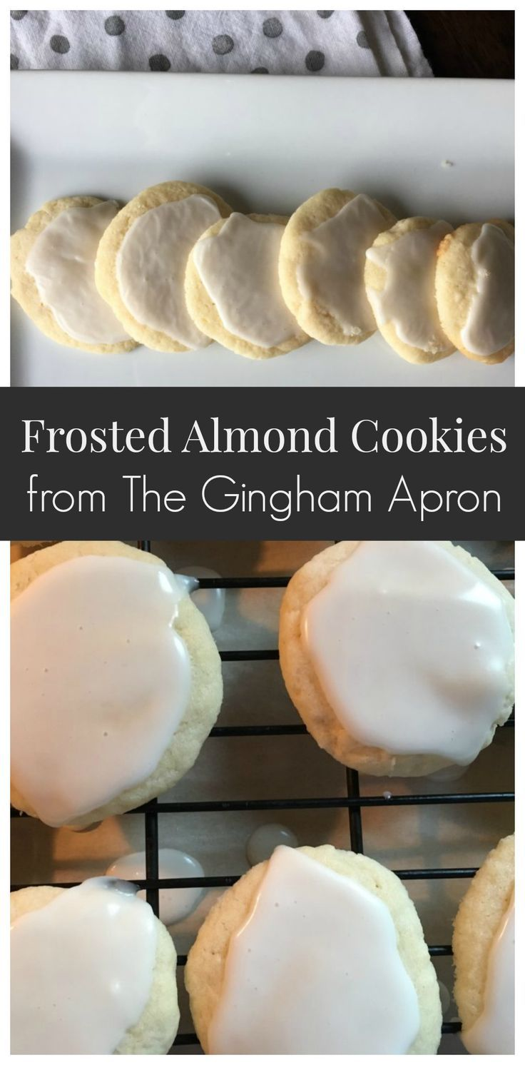 Frosted Almond Cookies- buttery and with a touch of almond flavor. Best of all- no cutting out.