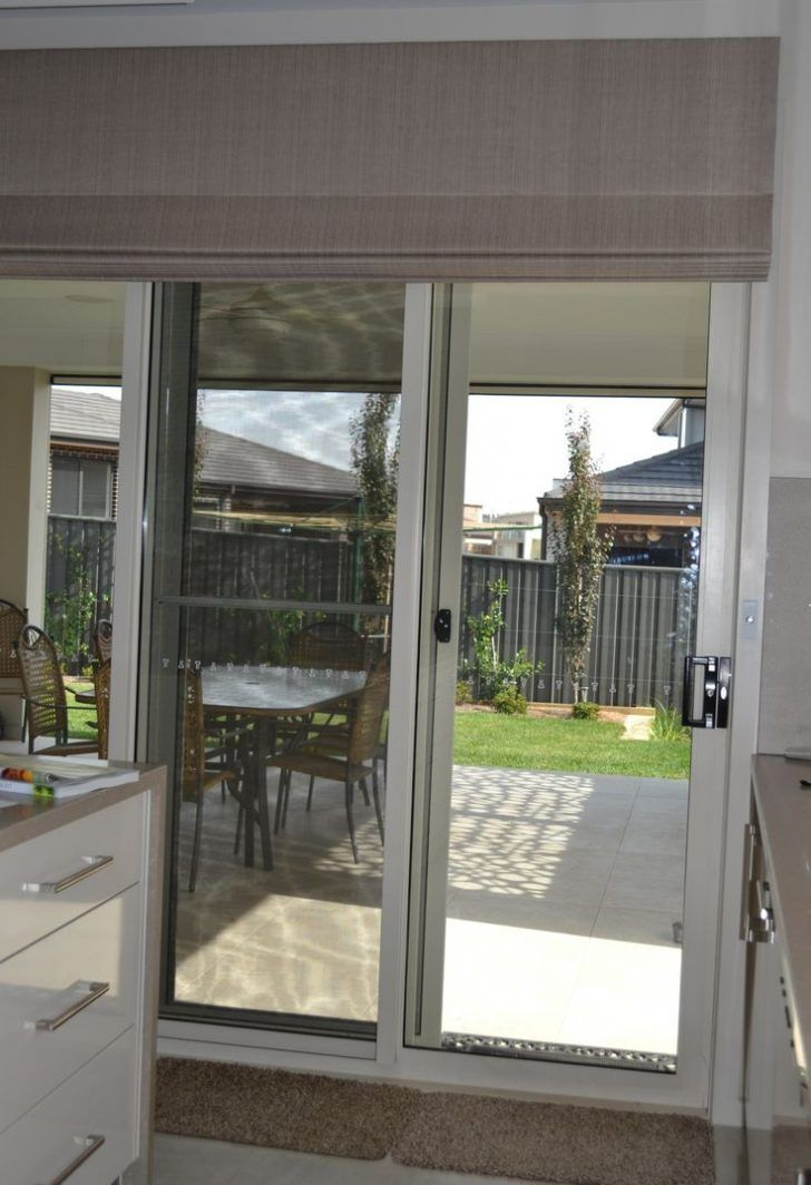 Furniture: Cream Blinds Sliding Door With Style Up And Down To Covered A Door Rolled Up If Opened Can Be Ideas For You Have Sliding Door Or Glass Door from The Asian Original Style of the Blinds for Sliding Doors Design