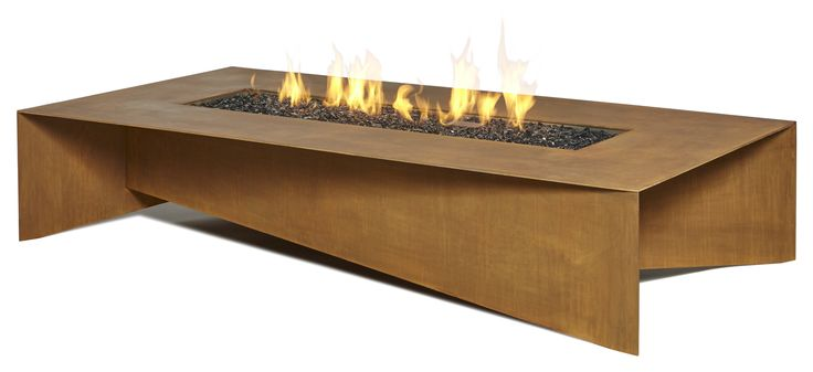 """A modern outdoor fire pit made from 3/16"""" Corten weathering steel. Shown here the 72"""" model (72 x 36 x 14""""h (1829 x 914 x 356)) with fitted metal cover plate removed and flame lit up. Also available in a square format 48 x 48 x 14""""h (1219 x1219 x 356), Made in Canada. Shipped throughout North America, Europe, Britain and the Middle East. Certified to North American, UK & European standards"""