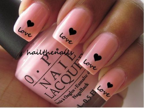 Nail Wraps Nail Art Water Transfers Decals Love Black Hearts YD057 #pink #heart