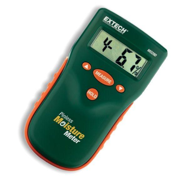 http://www.termometer.se/Oforstorande-fuktmatare-Extech-MO280.html  Oförstörande fuktmätare Extech MO280 - Termometer.se  Oförstörande mätning för att övervaka fukt i trä och andra byggmaterial Välj bland 10 träslag och mätområden Mätningen djup till 20 mm under ytan LCD-display visar % fukthalt i trä eller material som testas...