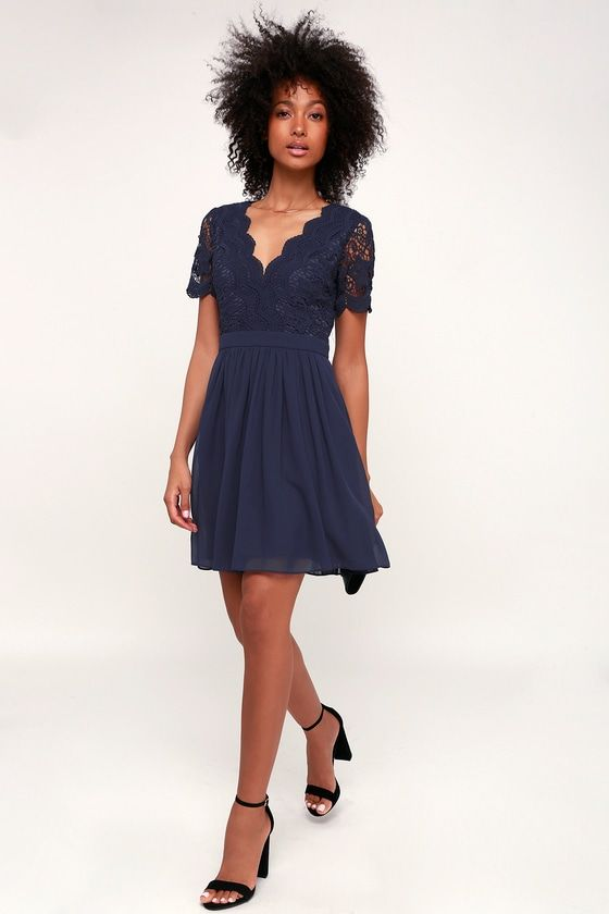 f5b8617aea0 Angel in Disguise Navy Blue Lace Skater Dress