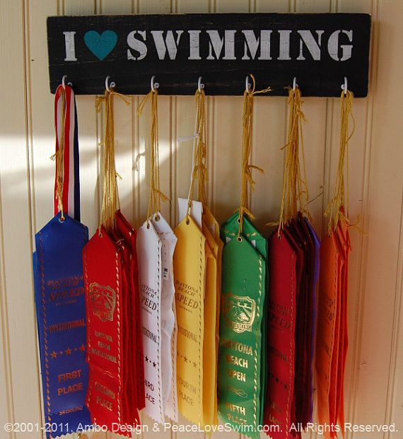 Swimming Wood Wall Plaque with Hooks for Awards - Medals - Ribbons  Customization & Personalization Available