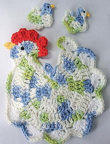 Henrietta potholder from Annie's Attic: Baby Chick, Crochet Kitchens, Pots Holders, Crochet Potholders Patterns, Crochet Chicken, Chicken Potholders, Christmas Chicken, Crochet Patterns, Hot Pads