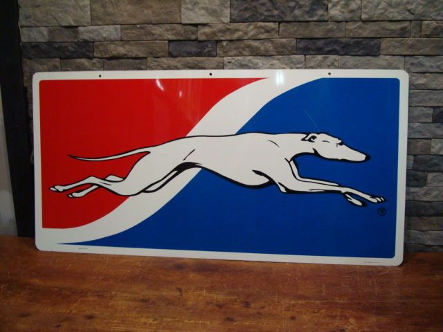 Vintage Greyhound Bus Depot Double Sided Sign 48 X 24 Gas