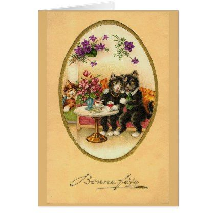 Bonne Fete - Happy Birthday! Card - animal gift ideas animals and pets diy customize