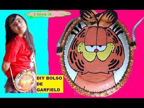 DIY BOLSO DE GARFIELD CON PLATOS DESCARTABLES | Manualidades faciles | DIY Garfield hangbag - YouTube