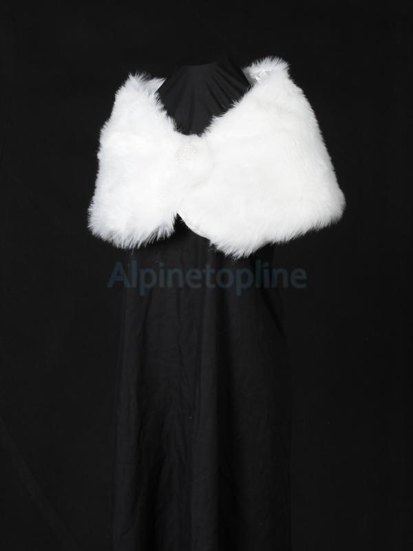 Elegant Ivory Soft Faux Fur Wedding Evening Party Dress Stole Wrap Shawl Warm