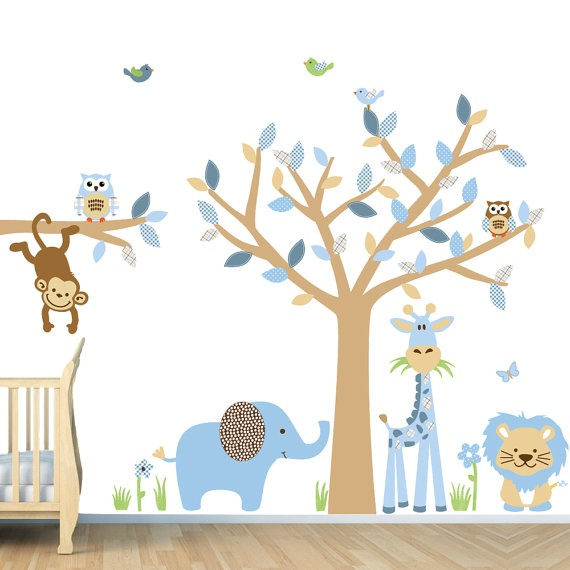 Repositionable Baby Boy Room Jungle Wall Decals, Boy Room Wall Decals (SG  Full Size Animal/Tree Blue Brown) SGF