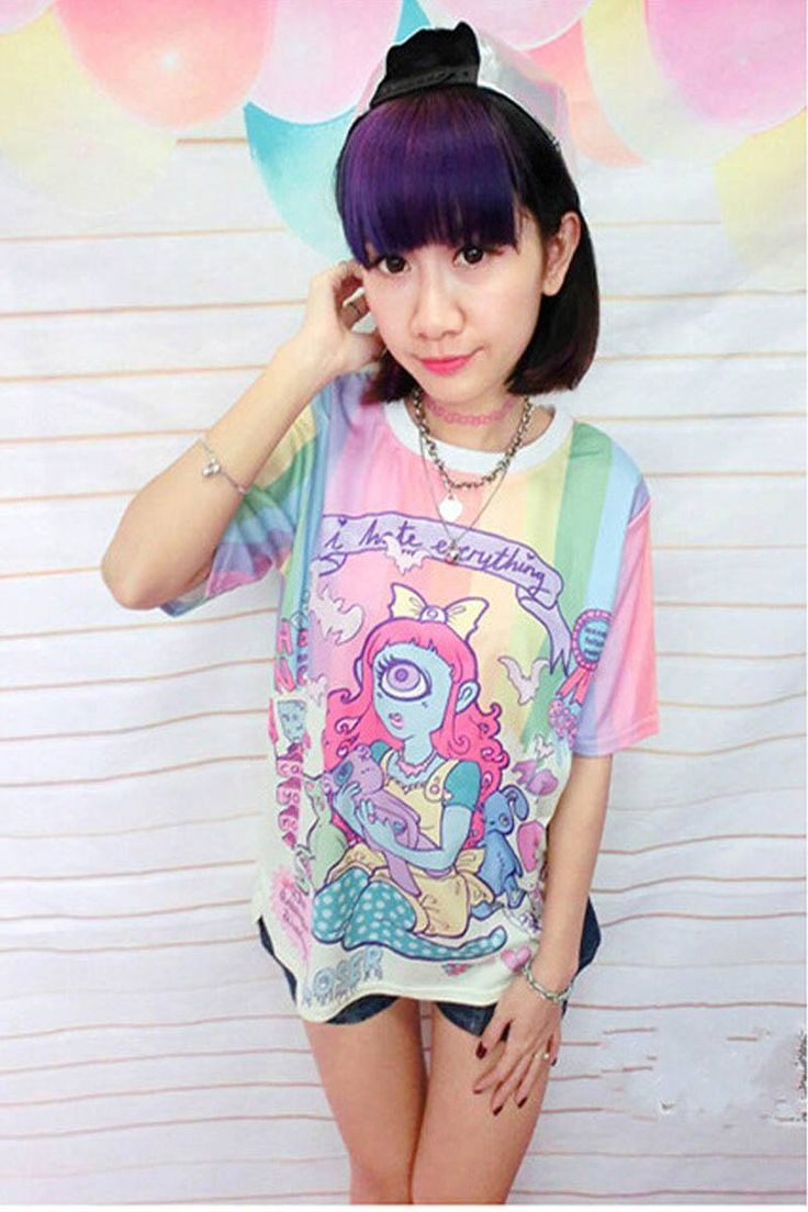 Japanese Harajuku Cute Cartoon Tops T-shirt SD01230 - SYNDROME - Cute Kawaii Harajuku Street Fashion Store