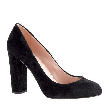 J.Crew Etta suede pumps. If I ever need to buy black pumps, these'll be them! #PleaseGoOnsale