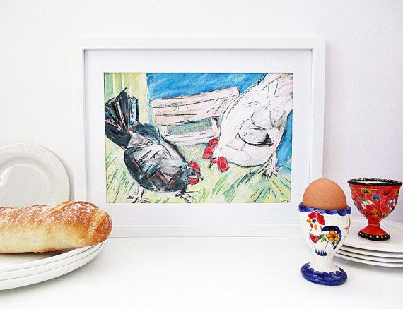 instant download chickens print - perfect for chook lit lovers Makeforgood Chicken Art Print Kitchen Wall Art by InekedeVries