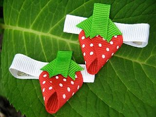strawberry ribbon hair clip with alligator clips