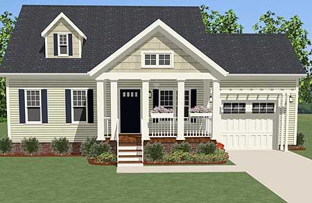 <!-- Generated by XStandard version 3.0.0.0 on 2015-01-23T15:05:40 --><ul><li>Just the right size for a starter home or as a guest house, this two bedroom Cottage is compact and functional.</li><li>The home comes with both front and back porches with lots of room on each.</li><li>Four windows brighten the dining area that is combined with the kitchen.</li><li>Each bedroom is a good size and they share a hall bathroom.</li></ul>