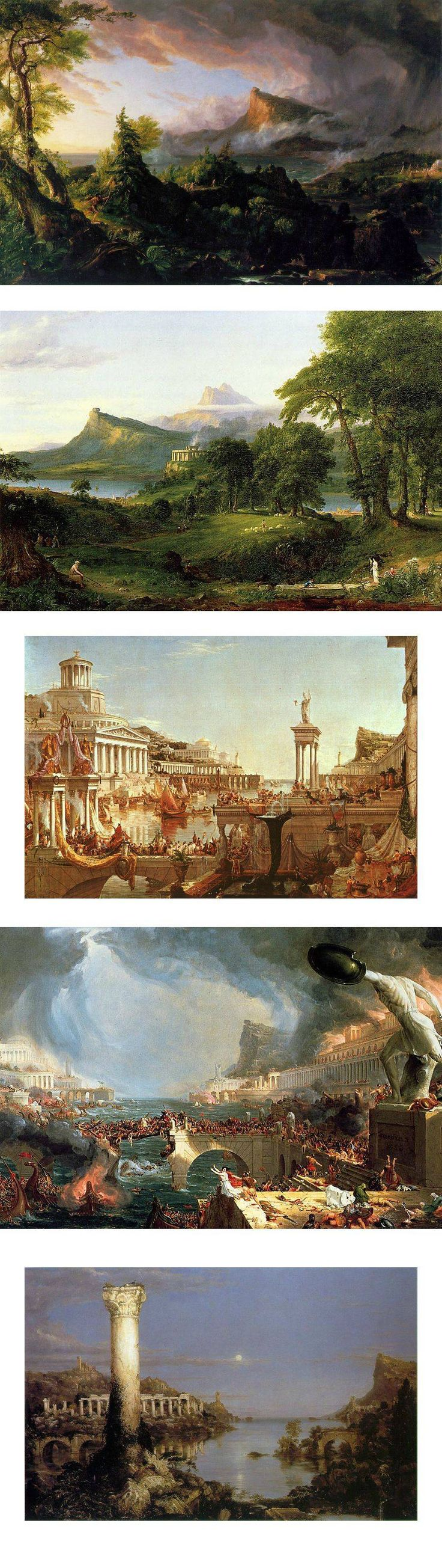 The Course of Empire by Thomas Cole. Having all five together in the same pin gives more impact to the meaning of the series.    One of my favourite paintings on the evolution and progress of civilisation.