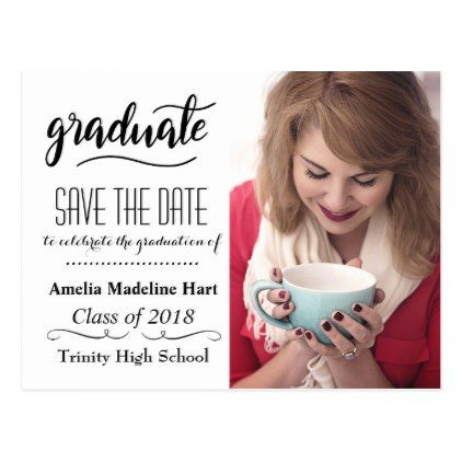 typography save the date graduation party photo postcard photo
