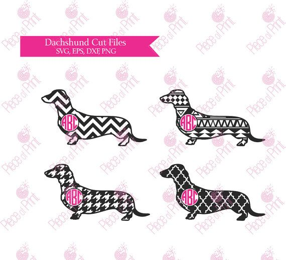 Patterned #Dachshund #Monogram #svg cut files for Silhouette and Cricut by pieceofprint
