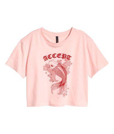 Rosa claro/Pez. Camiseta corta y holgada de punto con motivo estampado.