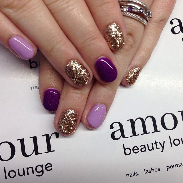 Maybe instead of gold party nails I would do a light sliver sparkle. - Best 25+ Purple Gel Nails Ideas On Pinterest Pretty Gel Nails