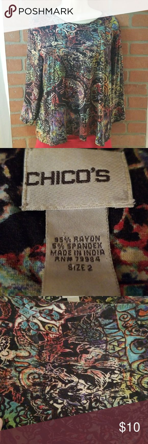 Chico's Multi Colored women sz 2 long sleeve top Gorgeous colorful top. No stains and in EUC.  Chest 22 Length 22 Chico's Tops Tees - Long Sleeve