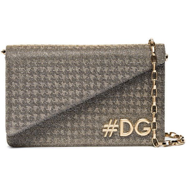 Dolce & Gabbana Silver DG Girls Glitter Clutch Bag (€865) ❤ liked on Polyvore featuring bags, handbags, clutches, metallic, chain handle handbags, brown handbags, magnetic closure handbags, metallic handbags and chain-strap handbags