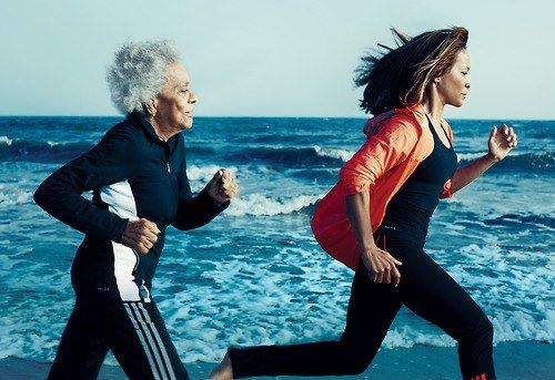 96-year old mother, running with her 60-year old daughter. Both look fabulous!