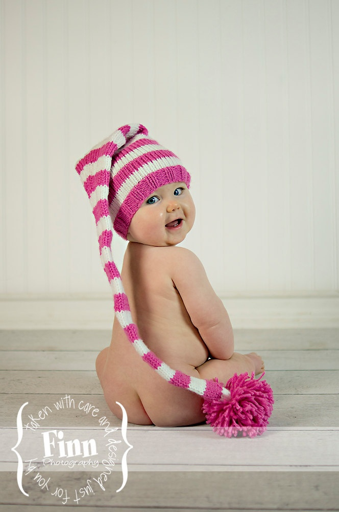 knit baby hat stocking elf newborn knitted infant photo prop pink white all sizes long