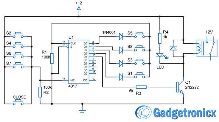 Simple code locker circuit diagram using decade counter