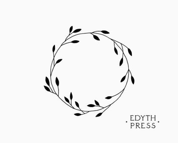 Hand Drawn Plant Wreath Clipart Frame Black Ink Botanical Etsy How to draw hands Frame clipart Circle drawing