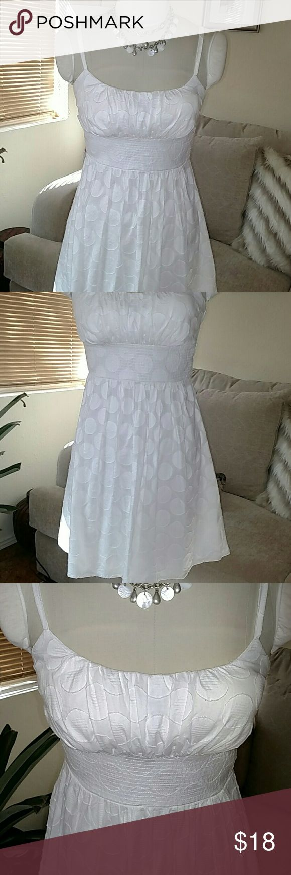 White Summer Dress Cute white summer dress • fully lined • back zipper • built-in bra • adjustable straps • polka dot design • 100% cotton • size 6 • worn once • excellent quality • perfect condition B. SMART Dresses