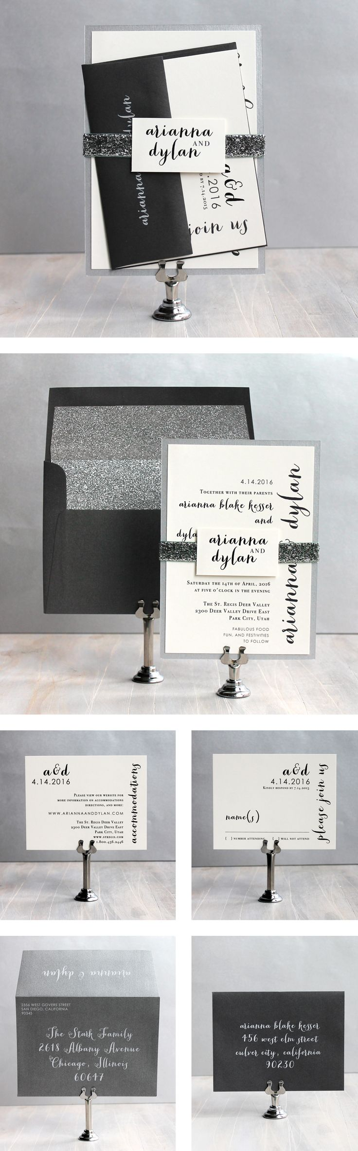 Silver & Glitter Wedding Invitations {NEW} #beaconlane Purchase a sample here: https://www.etsy.com/listing/170674488/silver-glitter-glitter-wedding?ref=shop_home_active&ga_search_query=glitter