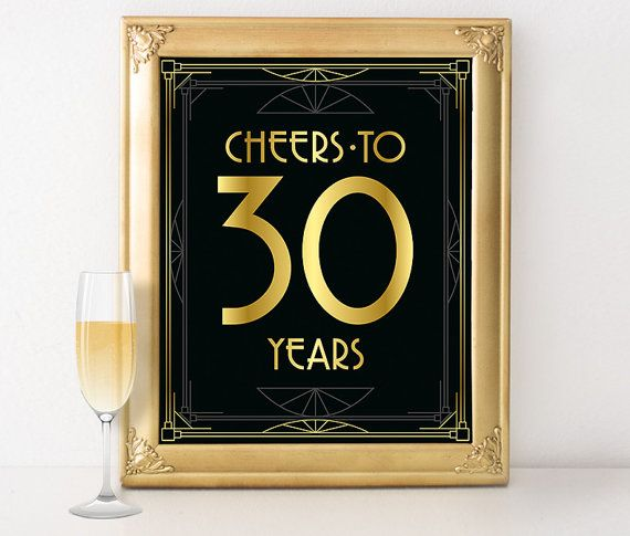 Birthday sign printable  Cheers to 30 years by GoldMoonParty
