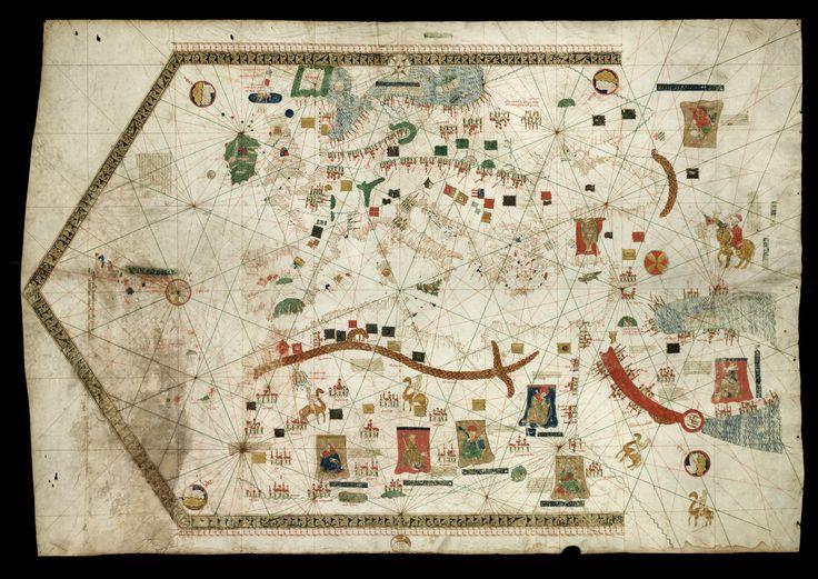 Carta-Náutica-de-Gabriel-de_Valseca - Gabriel de VALSECA (fl. 1439) -«[Mediterrâneo, Mar Negro, Mar de Azov, costa atlântica da Europa e costa do Norte de África]». 1439. Museo Marítimo de Barcelona Inv. 3236.